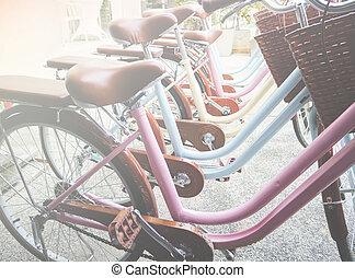 achterkant, wiel, van, de, fiets
