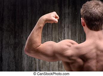 achtermening, van, goed, gevormde, man, demonstreren, biceps