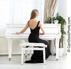 achtermening, van, musicus, zittende , en, spelende piano