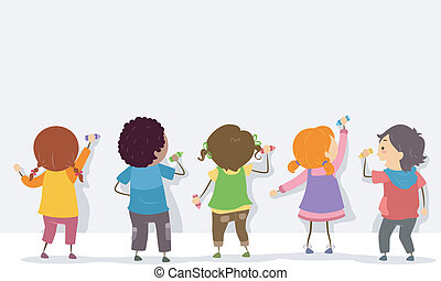 achtermening, van, stickman, geitjes, met, crayons, en, leeg, plank