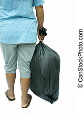 achtermening, van, vrouwenholding, vuilzak, vrijstaand