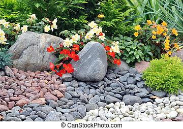 achterplaats, verfraaide, met, stenen