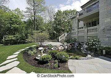 achtertuin, met, steen, terras