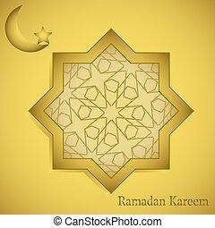 achthoekig, ornament, ramadan, achtergrond, arabische , kalligrafie, kareem
