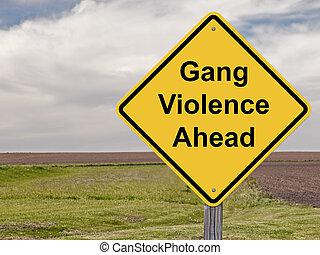 achtungsvorzeichen, -, bande, gewalttätigkeit, voraus
