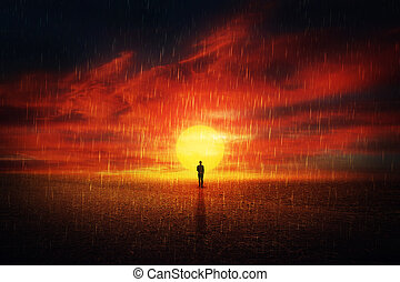 Acid rain. Earth 2118 - Futuristic scenery view as a man ...