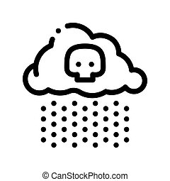 Acid Rain Earth Problem Vector Thin Line Icon