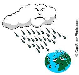 acid rain falling on planet Earth