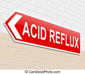 Acid reflux concept. - Illustration depicting a sign with an...