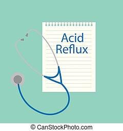 Acid reflux written in notebook- vector illustration