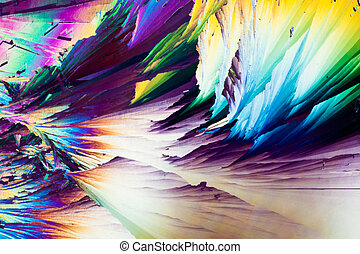 acide benzoïque, cristaux, dans, lumière polarisée