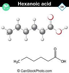 acide, molécule, hexanoic