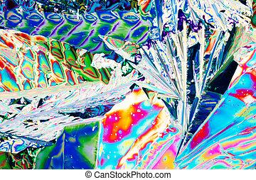 acide tartrique, cristaux, dans, lumière polarisée