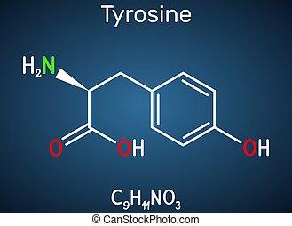 acide, thyroxine, arrière-plan bleu, rôle, tyr, molecule., ...