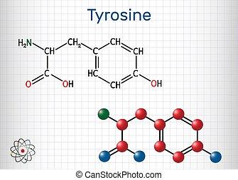 acide, thyroxine, rôle, feuille, tyr, molecule., cage, ...