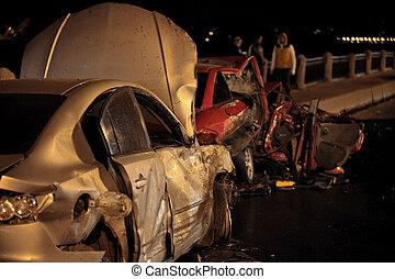 acidente, à noite, estrada