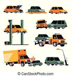 acidente, car, ícones, seguro, choque, veículo, estrada, isolado, ou