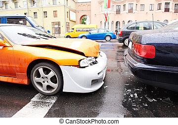 acidente carro, choque, parte traseira