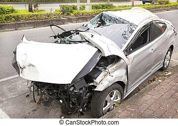 acidente carro, e, destruído, car, estrada