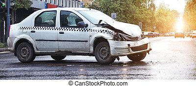 acidente carro, em, raso, profundidade campo