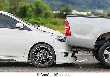acidente carro, envolvendo, dois, carros, rua