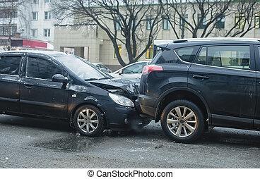 acidente carro, ligado, cidade, estrada