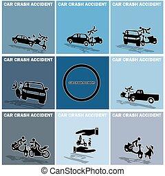 acidente carro, motocicleta, entre
