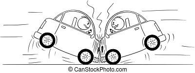 acidente, choque, carros, dois, desenho, caricatura