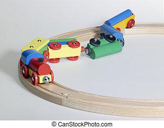 acidente, de, um, brinquedo madeira, trem