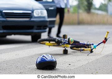 acidente, ligado, passagem pedonal