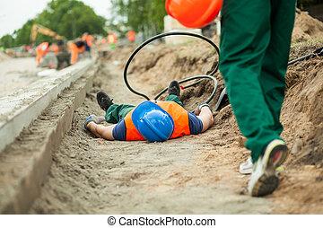 acidente, ligado, um, construção estrada