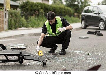 acidente, policia, fixar-se, cena