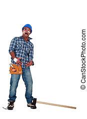 acidente, propenso, trabalhador construção