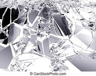 acidente, quebrada, sobre, pedaços, vidro, branca
