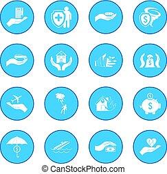 acidente, seguro, ícone, azul