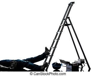 acidente, silueta, manual, escada, trabalhador, queda, homem