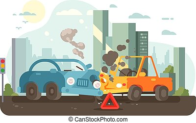 acidente, tráfego, cena, estrada