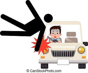 acidente, tráfego, ilustração