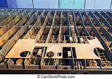 acier, à, coupes-circuit, sur, guide, manière, de, machine découpage