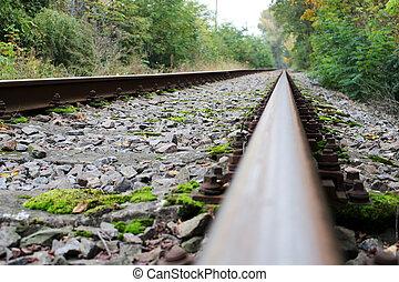 acier, abandonnés, piste, rail, sans, train, infini