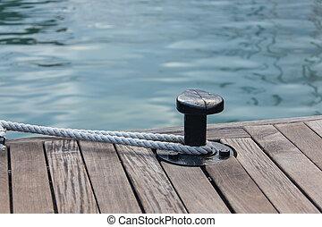 acier, autour de, attaché, corde, ancre, amarrage