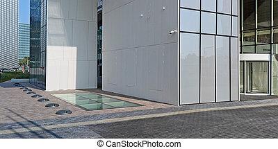 acier, bâtiment, bureau, verre, moderne, -, matériels, béton, construction, granit, nouveau