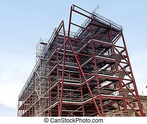 acier, bâtiment, encadré