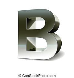 acier, b, argent, lettre, 3d