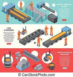 acier, bannières, isométrique, industrie