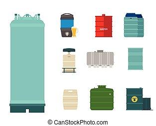 acier, barils, huile, récipient, tambours, stockage, métal, tonneau, chimique, carburant, rangées, vecteur, illustration, réservoirs, capacité, bowels, naturel, vaisseau