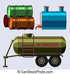 acier, barils, huile, récipient, tambours, stockage, métal, tonneau, chimique, carburant, vieux, rangées, vecteur, illustration, réservoirs, capacité, bowels, naturel, vaisseau