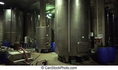 acier, barils, usine, winemaker, fermentation, vin