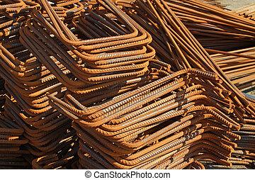 acier, barres, construction, matériels