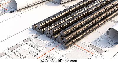 acier, barres, projet, arrière-plan., modèles, 3d, renforcer, pile, illustration